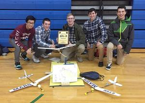 The team of Mars Area High School technology education students, (from left) Howard Huang and Theodore Ruffner, Ian Sleigh, Nicolas Campagna and Adrian Zugehar took first place overall in the annual Shaler Area STEAM Competition.