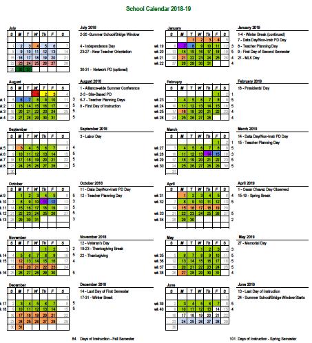 2018-2019 Alliance school Calendar Thumbnail Image