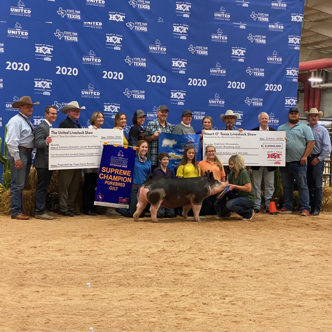 group of students and judges posing with a pig, large checks and champion banner