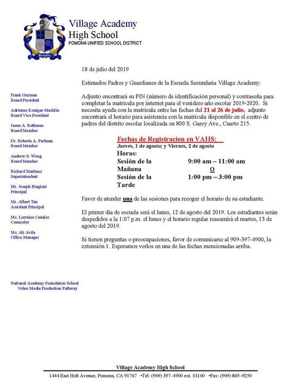Registration Letter - Spanish