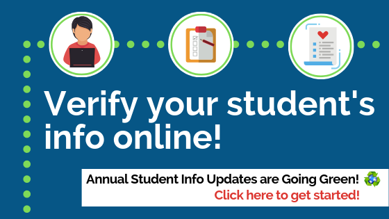 Click here to get started verifying your student's information! Thumbnail Image