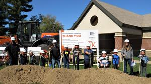 TK elementary students from Page, Lee and McFall participate in the groundbreaking ceremony for the first phase of construction.