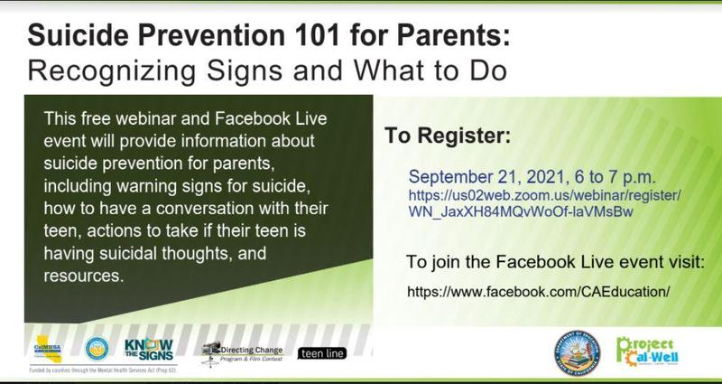 SUICIDE PREVENTION 101 FOR PARENTS WEBINAR Featured Photo