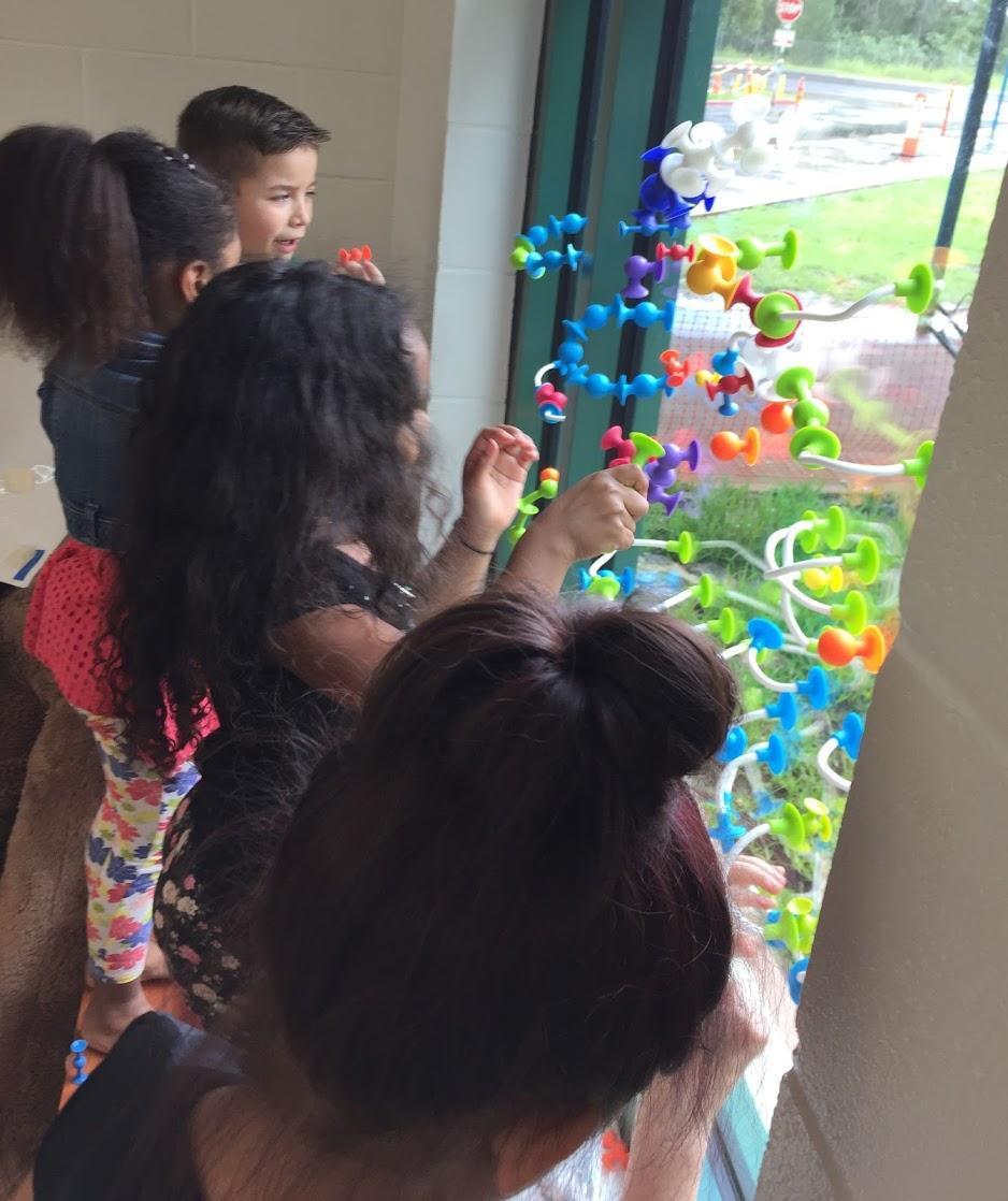 Kindergartners' window creations