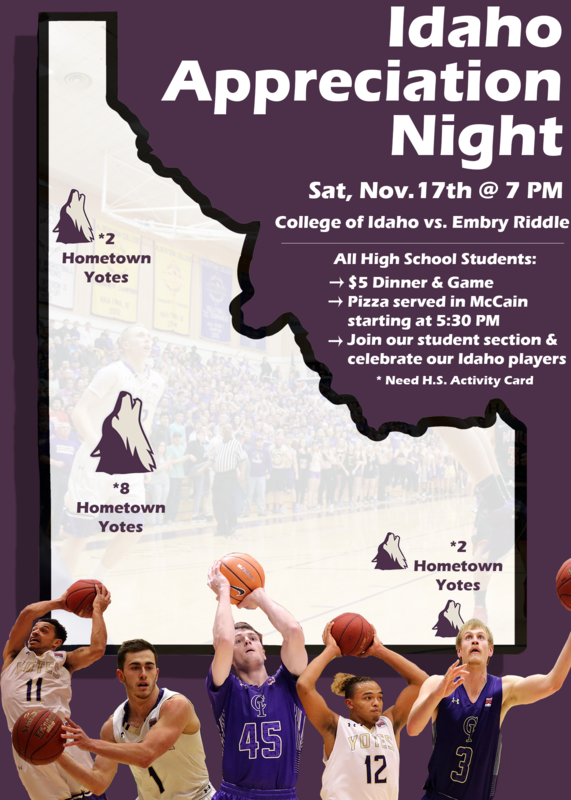 outline of the state of Idaho with head shots of college of Idaho basketball players from Idaho along the bottom