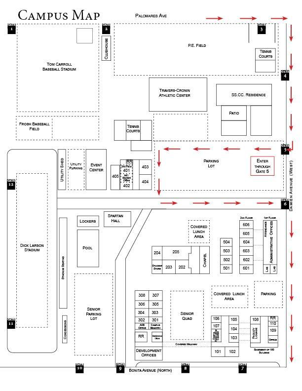 Cap and gown pick up campus map