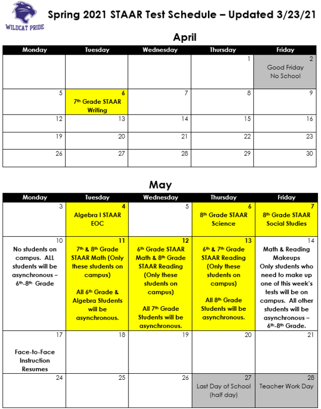 Revised STAAR Schedule Thumbnail Image