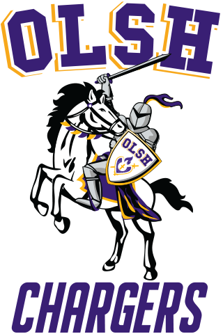 Knight riding a Charger, the school's mascot