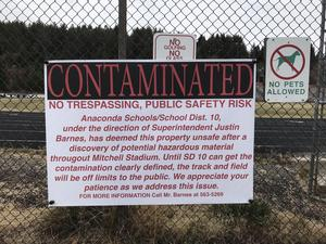 Contamination sign on Mitchell Stadium