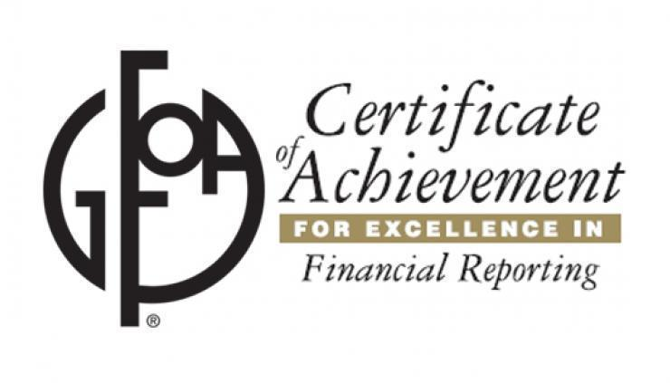 Logo GFOA which is a Certificate of Achievement for Excellence in Financial Reporting