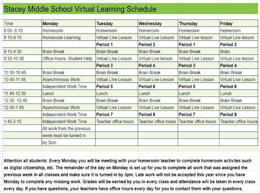 Virtual Learning Weekly Schedule