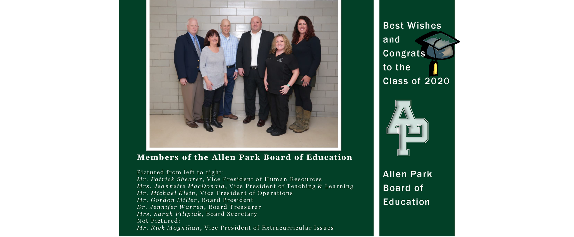 Board of Education wishes all the best to the Class of 2020