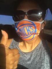 staff wearing Knicks mask