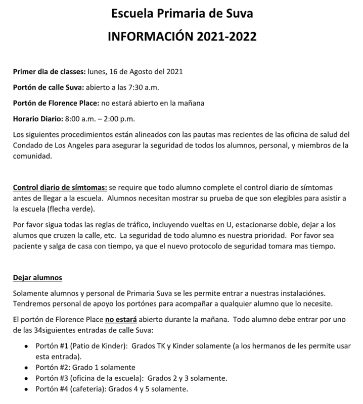 SUE Information Spanish
