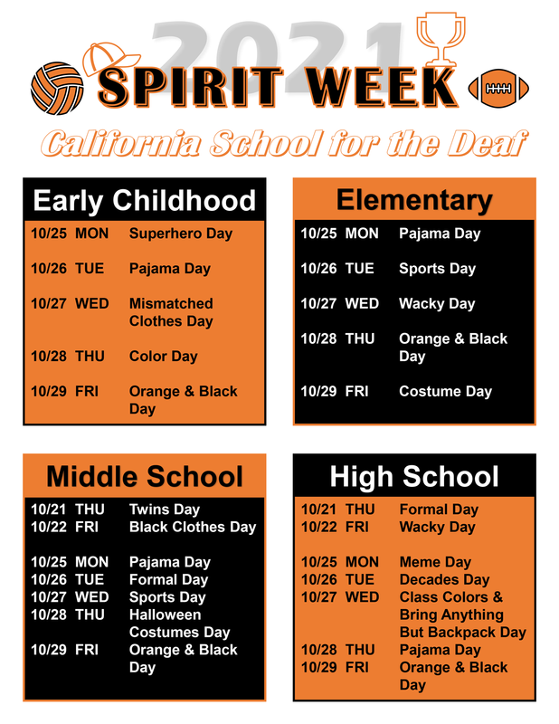 Spirit Week themes for Early Childhood, Elementary, Middle School, and High School