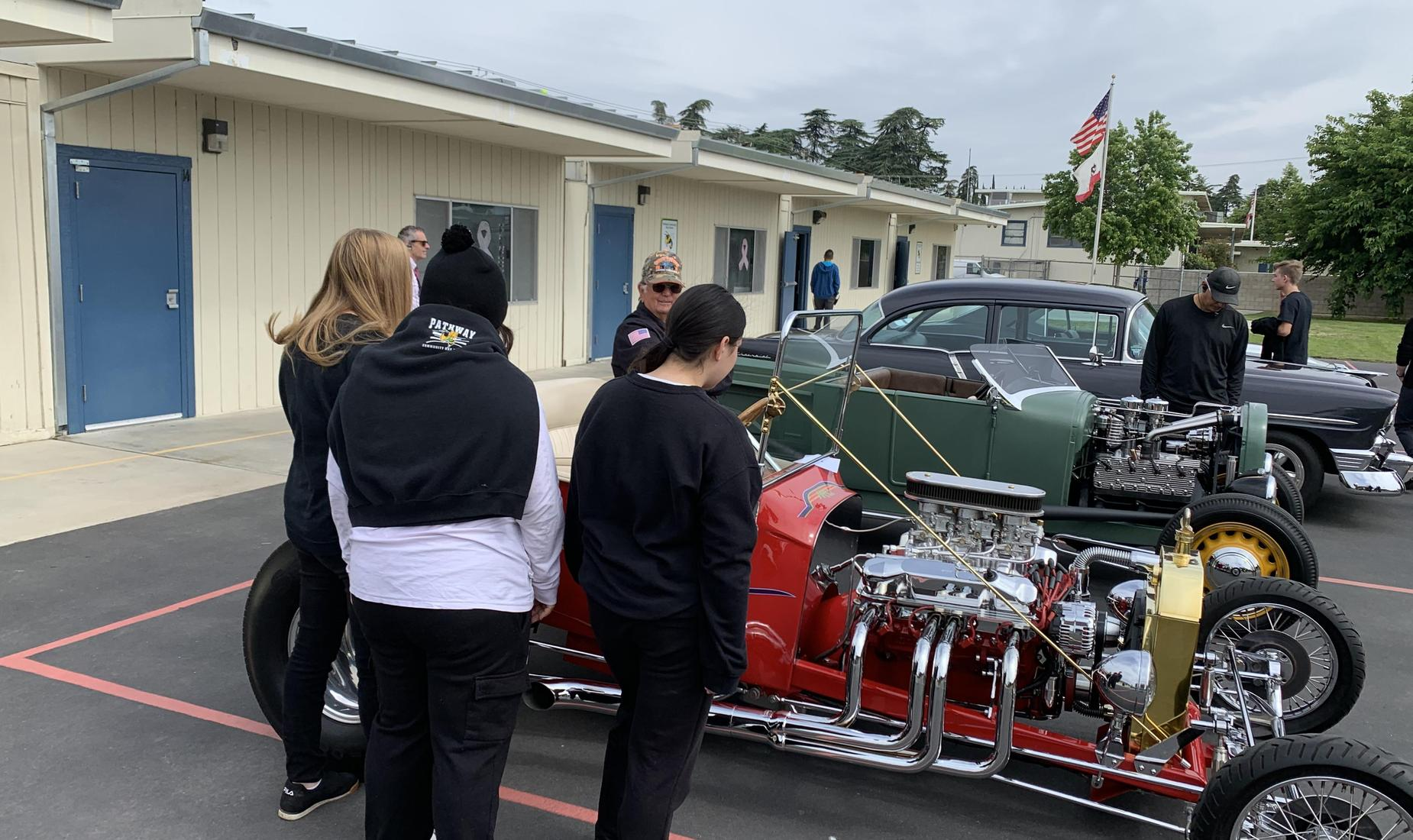Students Viewing Classic Cars