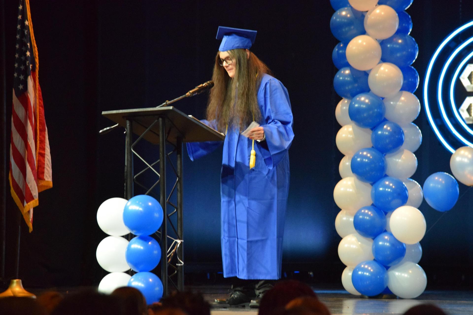 Student giving a speech
