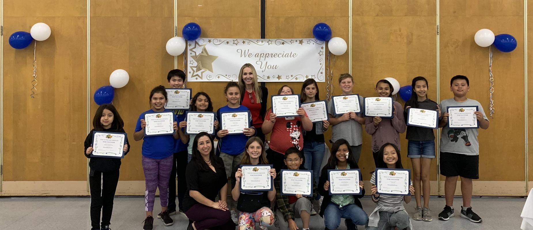 Nutrition Services Student Volunteer Awards