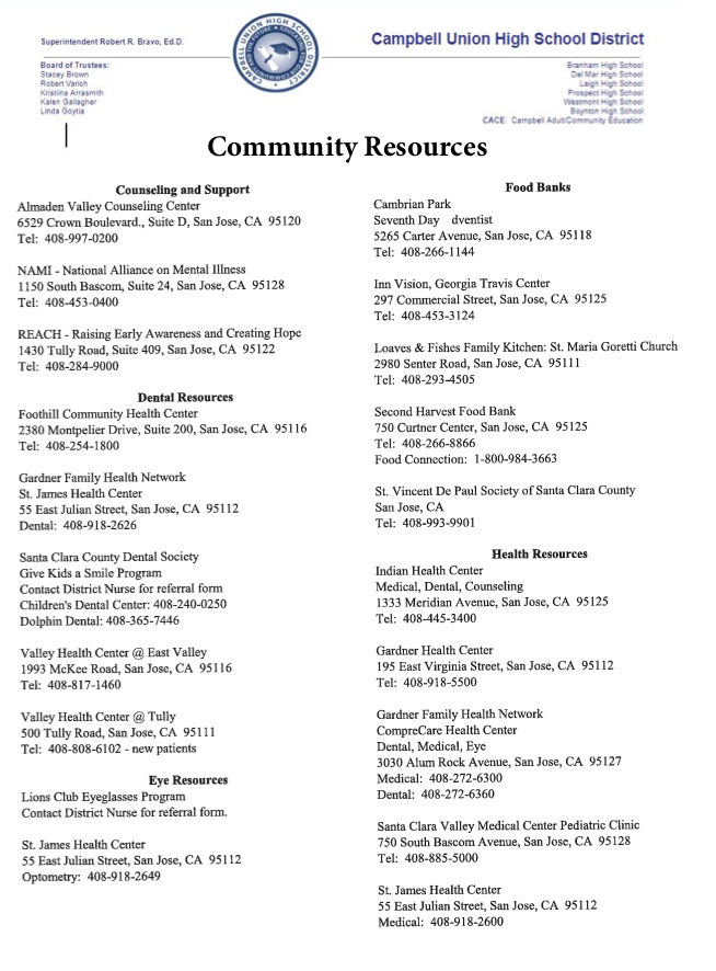 community resources provided by campbell union high school school district