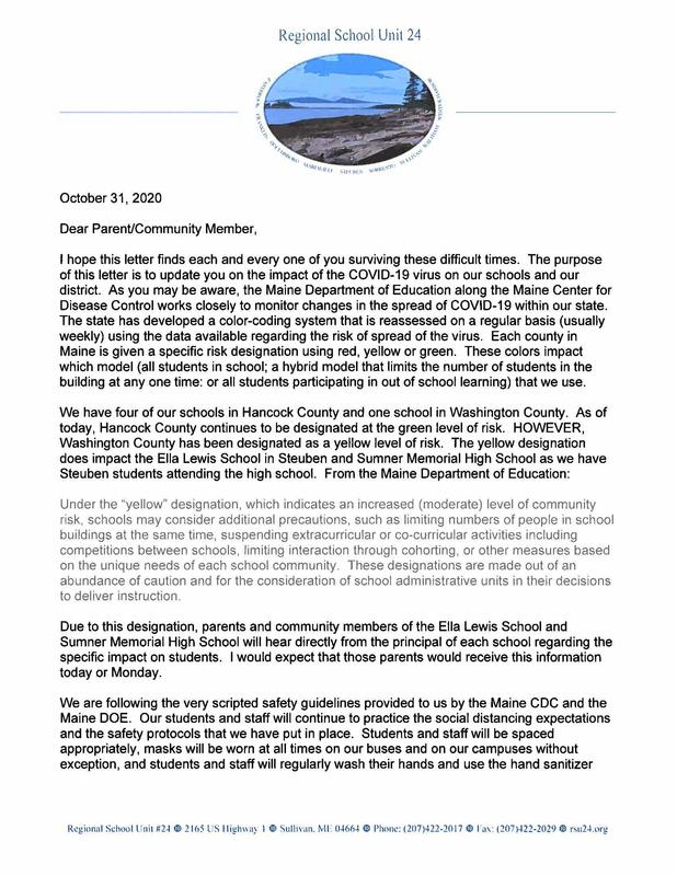 October 31, 2020 Parent/Community Letter from Superintendent Eastman Featured Photo
