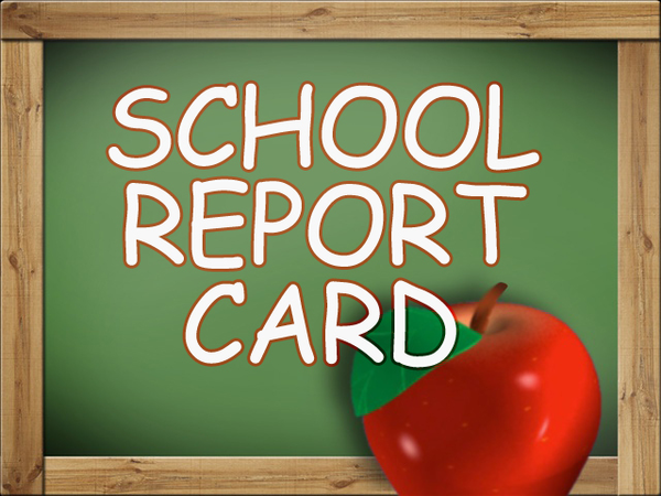 Bulletin board reading SCHOOL REPORT CARD with apple,