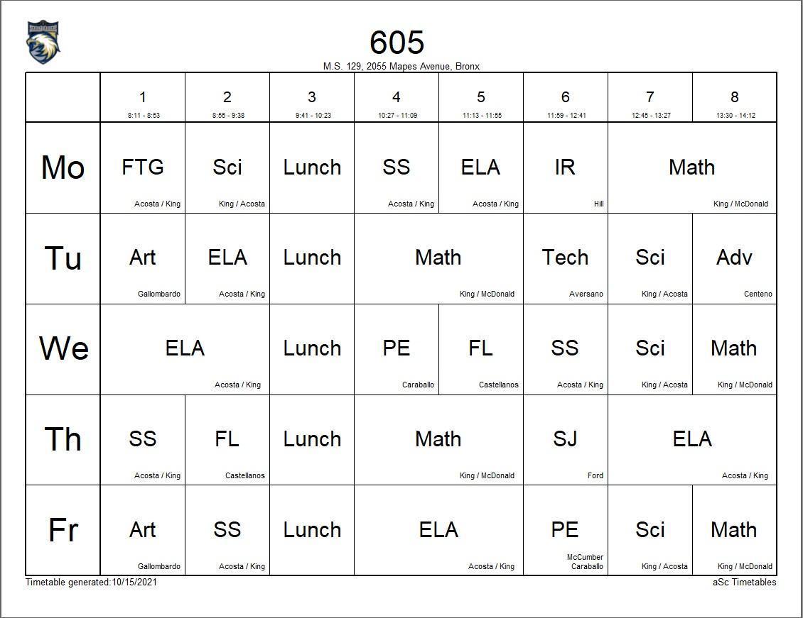 605 class schedule