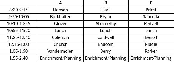 media class schedule