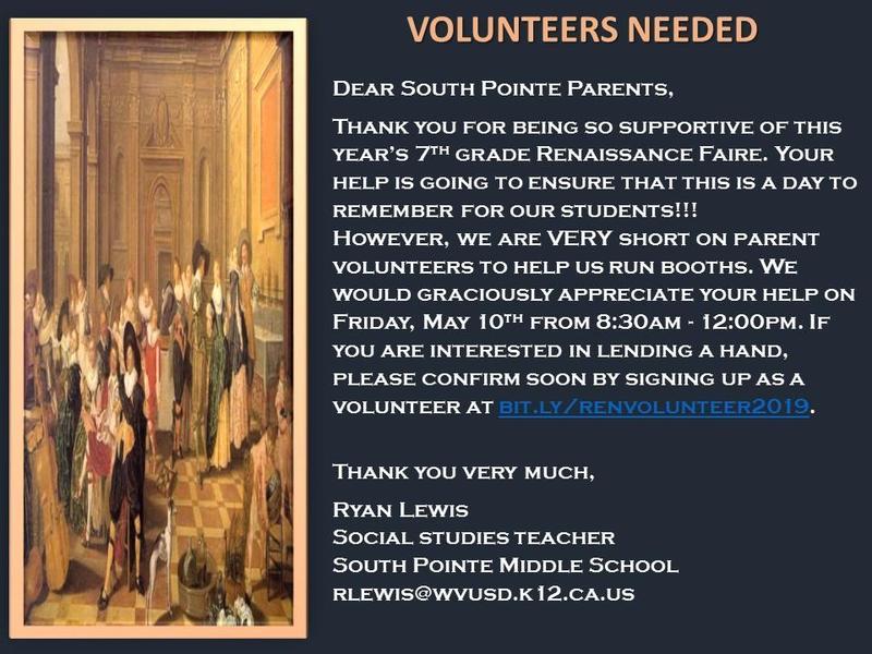 Renaissance Faire  ~  Volunteers Needed Featured Photo
