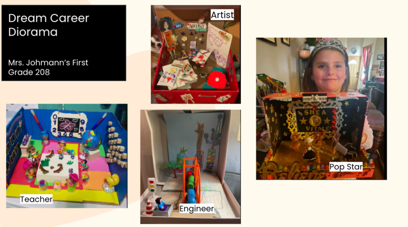 Dream career diorama collage with artist, pop star, engineer, and teacher
