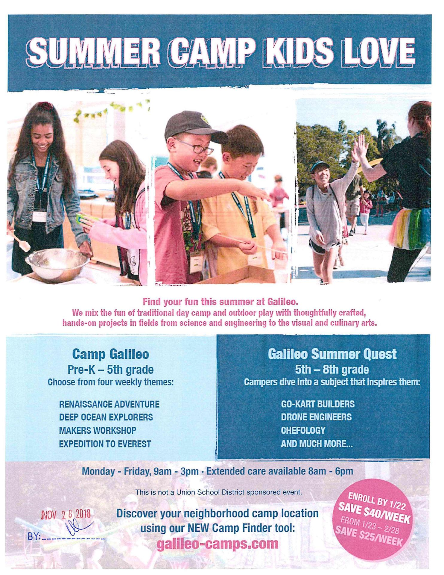 Galileo Summer Camp