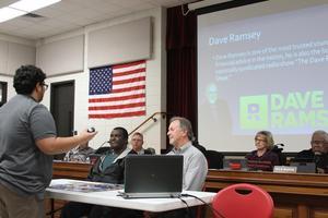 Photo of Matt Johnson's presentation at the February school board meeting