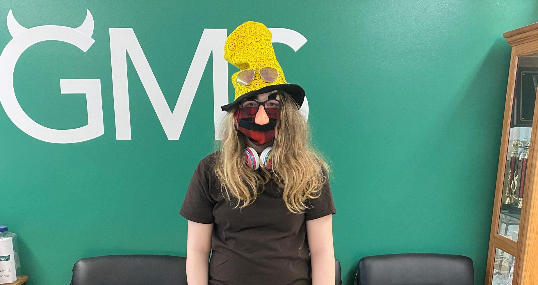 a picture of a student dressed up for Read Across America
