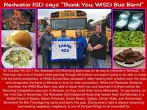 Redwater ISD treats WISD to a lunch for coming to their rescue.  They transported their band students to competition in Mineola when their bus broke down.