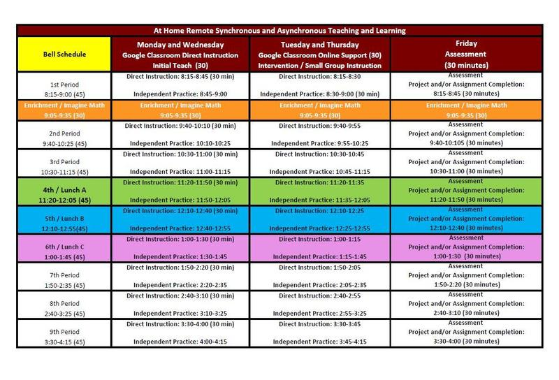 2020-2021 Remote Learning Bell Schedule Featured Photo