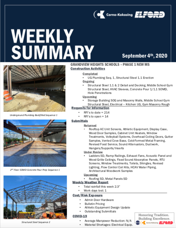 Construction Updates - September 4, 2020 Thumbnail Image