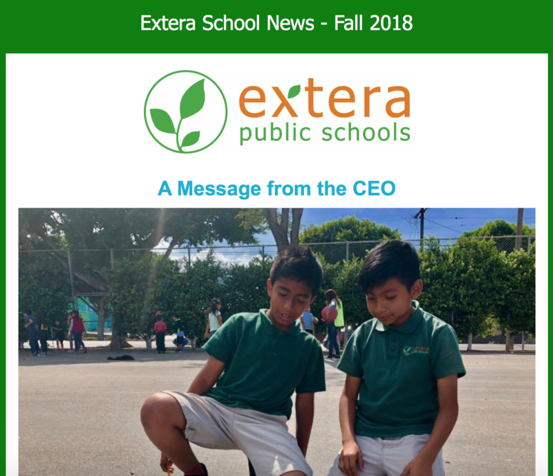 A screenshot of an issue of Extera School News
