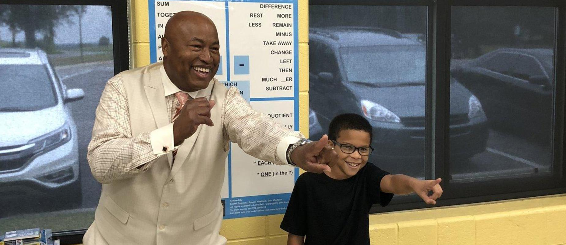 Larry Bell visits Bradley County Schools