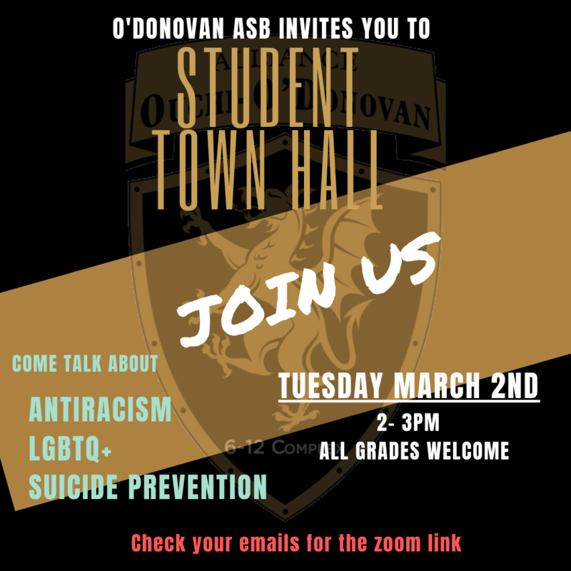O'Donovan Student Student Town Hall: Tuesday, March 2nd from 2-3 pm Thumbnail Image