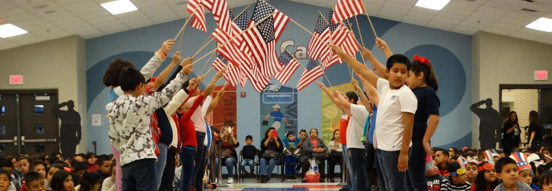 Students participating in the Veterans Day Program