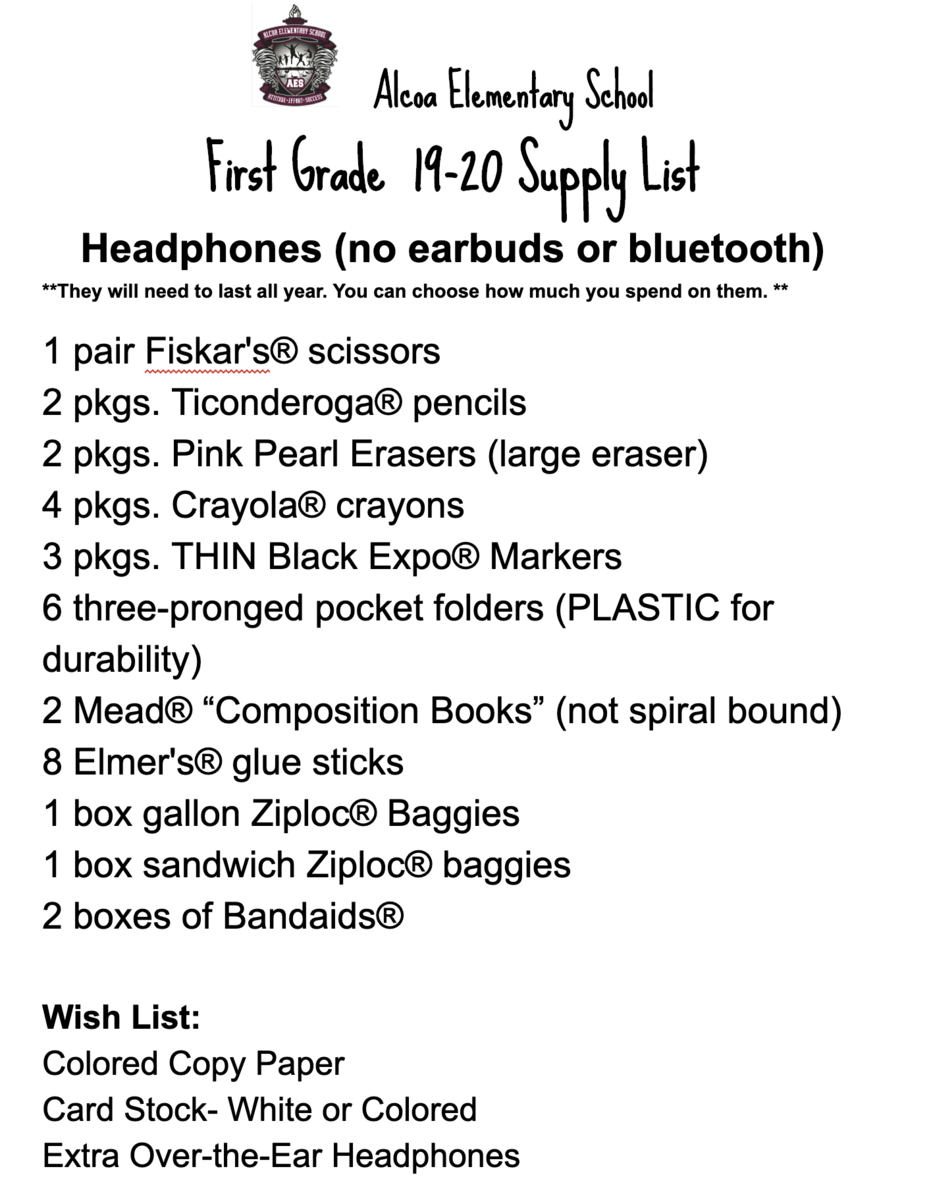 first grade supply list