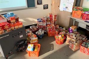 The Edison Student Government Association held a Thanksgiving food drive with 200+ items collected and donated to area food banks and shelters.  Pictured here are some of the items collected by EIS food drive.