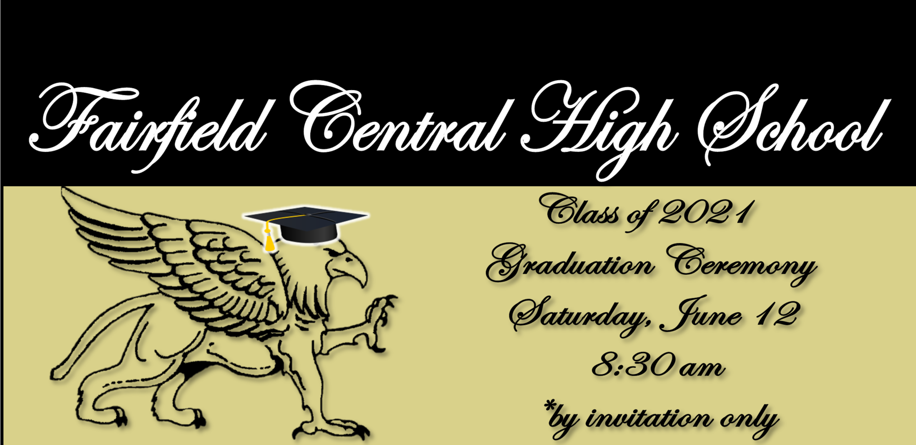 Class of 2021 Graduation Ceremony Saturday, June 12 @ 8:30 AM by invitation only