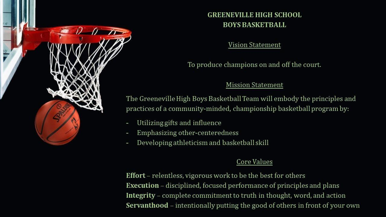 Greeneville Basketball Vision, Mission, Core Values