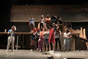 Cast of WHS fall production rehearses.