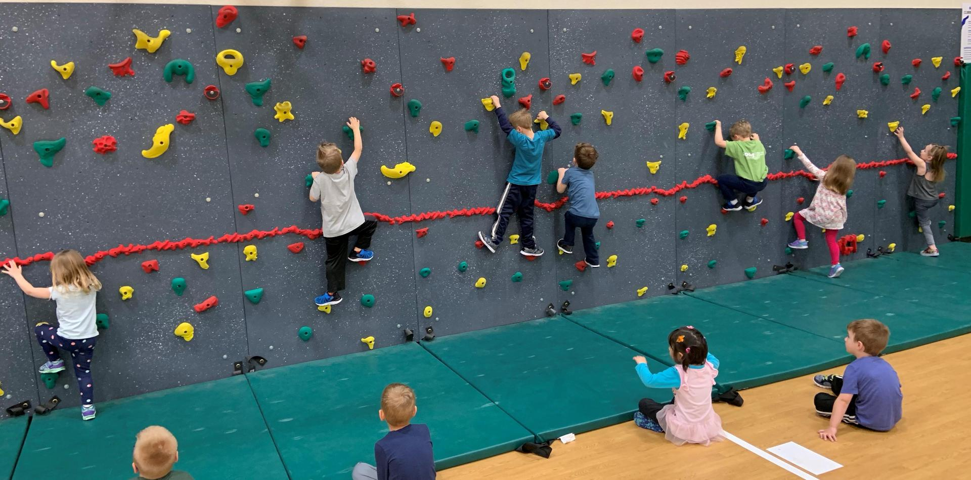 Rock climbing  in gym class
