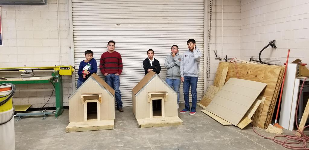 Students built dog houses