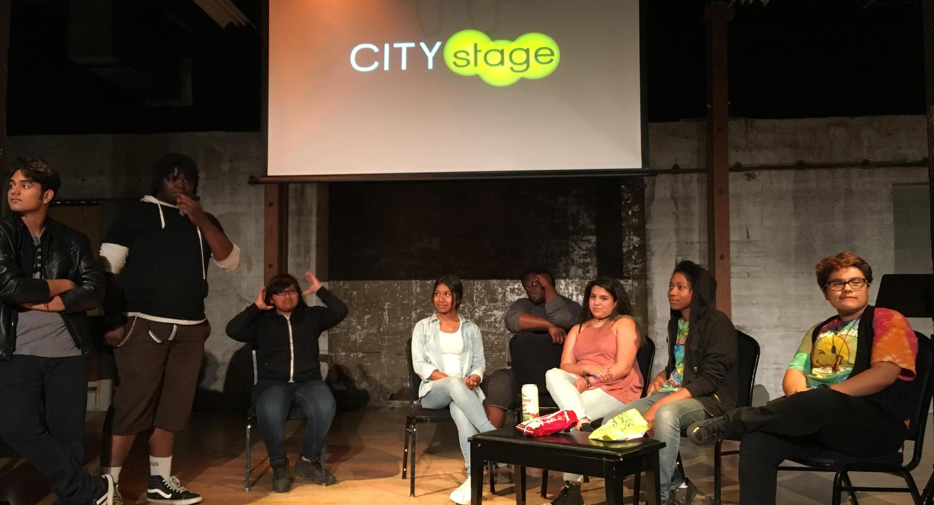 students meeting for city stage