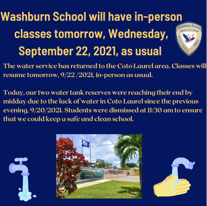 Washburn School will have in-person classes tomorrow, Wednesday, September 22, 2021, as usual Featured Photo