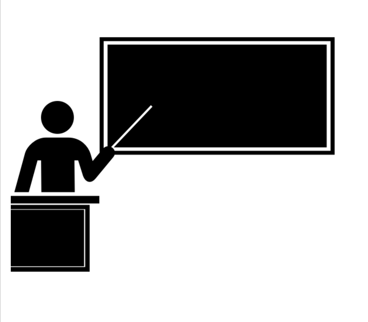 Teacher standing behind podium with pointer pointing towards a black board.