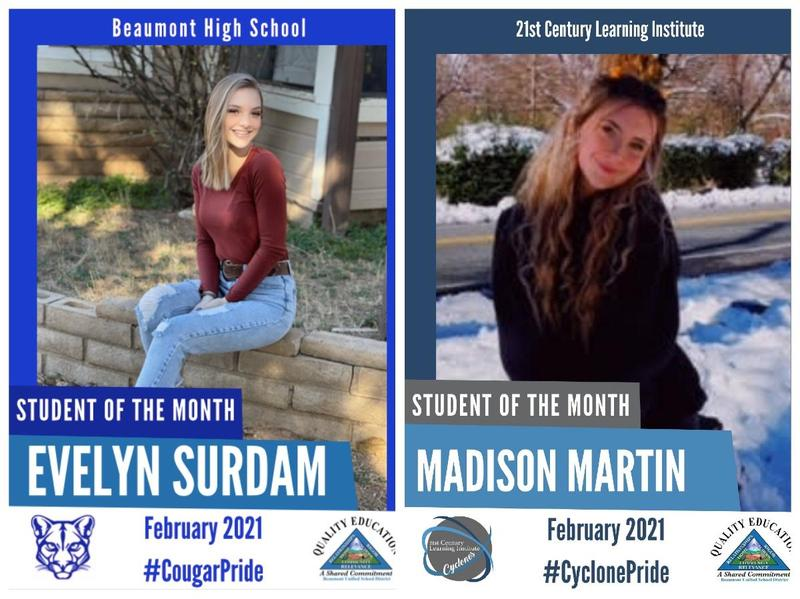 Pictures of the Students Named Students of the Month